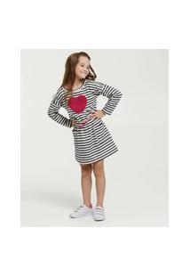 Vestido Infantil Listrado Coração Manga Longa Marisa