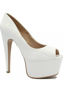 Sapato Zariff Shoes Peep Toe Meia Pata Festa - Feminino-Branco
