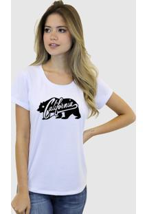 Camiseta Suffix Branca Estampa Urso California Gola Redonda