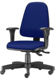 Cadeira Sky Presidente Com Bracos Curvados Assento Crepe Azul Base Metalica Preta - 54803 Sun House