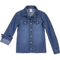 Camisa Jeans Infantil Menina Com Lavação Escura Hering Kids e73c17d5d67ee