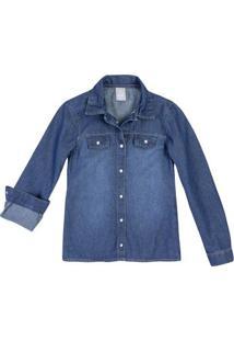 2e01628d03 Camisa Jeans Infantil Menina Com Lavação Escura Hering Kids