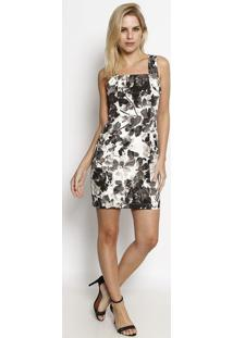 Vestido Texturizado - Marrom & Off Whitemoiselle