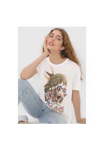 Camiseta Colcci Caveira Off-White