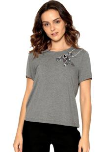 T-Shirt Malha Bordada Energia Fashion Cinza