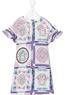 Young Versace Vestido Estampado - Pink & Purple