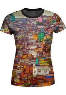 Camiseta Estampada Baby Look Over Fame Favela Multicolorido
