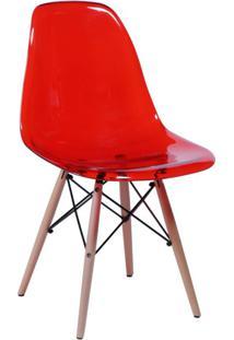 Cadeira Eames I Base Madeira E Vermelha