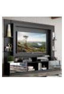 """Rack C/ Painel Tv 65"""" Portas C/ Espelho Oslo Multimóveis Preto/Branco"""