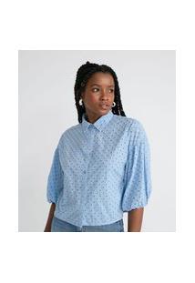 Camisa Manga Longa Bufante Em Laise   Blue Steel   Azul   Pp