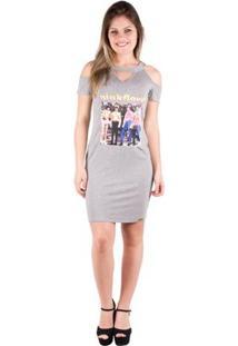 Vestido Blusão Com Estampa - Banna Hanna - Feminino-Mescla
