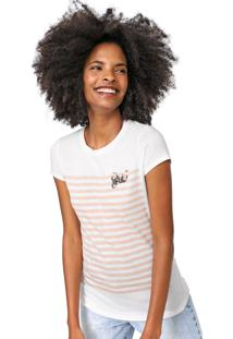 Camiseta Lez A Lez Listrada Bordada Branca/Coral