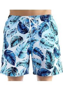 Bermuda Energia Natural De Praia Masculina - Masculino-Azul