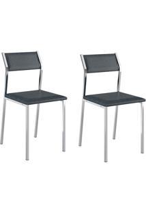 Kit 2 Cadeiras 1709 Jeans/Cromado - Carraro Móveis