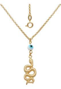 Gargantilha Prata Mil Com Olho Grego 6Mm E Cobra Dupla Dourado - Dourado - Feminino - Dafiti