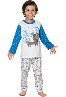 Pijama Longo Infantil Inspirate Triplex - Masculino-Azul+Branco