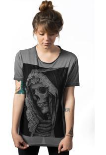 Camiseta Skull Lab Estonada Corte A Fio Estampa Caveira Grafite