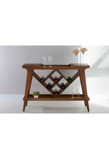 Aparador Bar Com Adega Gourmet De Madeira Maciça Com Tampo Espelhado Pubi 130X33X90Cm - Verniz Capuccino
