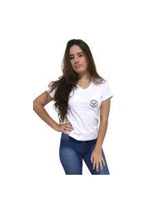 Camiseta Feminina Gola V Cellos Seal Premium Branco