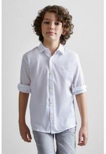 Camisa Masculina Infantil Mini Pf Sarjada Color Verano Reserva Mini - Masculino-Branco