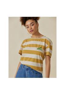 Amaro Feminino T-Shirt Folhagem Maritaca, Listrado Bege E Caramelo