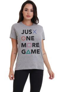 Camiseta Jay Jay Básica One More Game Cinza Mescla Dtg