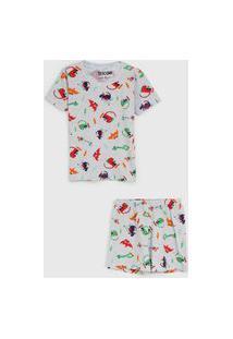 Pijama Tricae Curto Infantil Dinossauro Cinza/Laranja