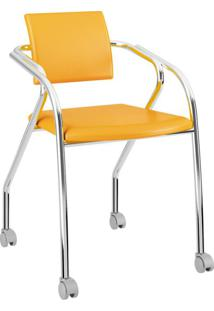 Cadeira De Escritório Interlocutor Cromoda Tom Amarelo Ouro