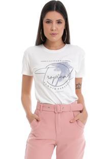 T-Shirt Pkd Concept Eco Estampa Tropical Off White