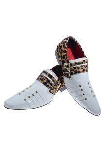 Sapato Masculino Italiano Social Executivo Em Couro Art Sapatos Branco Onça