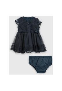Vestido Tip Top Infantil Tule Bordado Azul-Marinho