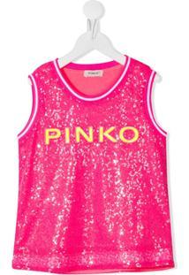 Pinko Kids Regata Com Logo De Paetês - Rosa