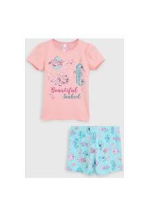 Pijama Malwee Liberta Curto Infantil Mar Rosa/Azul