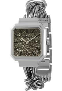 Kit Sombra + Relógio Euro Analógico Feminino Aço Diamante Negro Prata - Eu203Aac/K3C Largura Da Caixa (Cm) 3,4