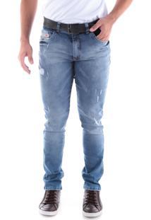 Calça Jeans Slim Lavada 5 Bolsos Azul Indigo Traymon 2245