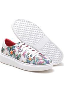 Tênis Navit Shoes Chunky Slipper Amarrar Floral Feminino - Feminino-Branco