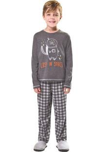 Pijama De Inverno Infantil/Juvenil Xadrez Menino