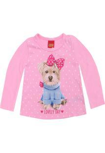 Camiseta Kyly Menina Estampado Rosa
