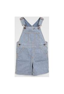 Jardineira Jeans Gap Infantil Listrada Azul