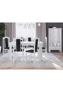 Conjunto Mesa Fixa Móveis Canção Com 6 Cadeiras E Cristaleira