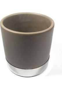 Vaso Redondo 10Cm De Cerâmica Marrom Com Prato- Enjoy