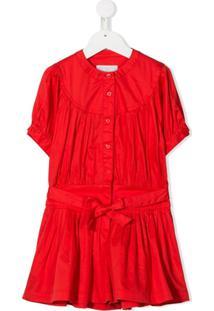 Stella Mccartney Kids Vestido Cintura Baixa De Algodão - Vermelho