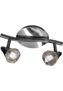 Spot Track Diamont Circular Aço Regulável Base Mr16 2 Lâmpadas Gelinho Max 35W