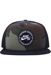 Boné Aba Reta Nike Sb Patch - Snapback - Trucker - Adulto - Preto Verde 250f3954c23a4