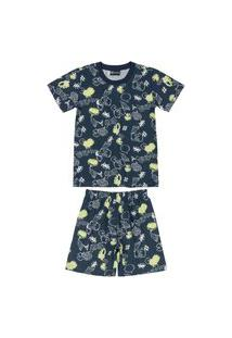 Pijama Shorts E Camiseta Estampado Quimby Azul
