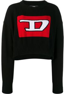 Diesel Cropped Pullover With 3D Intarsia - Preto