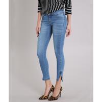 c4cbbaede Calça Jeans Feminina Super Skinny Com Zíper Na Barra Azul Médio