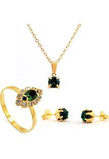 Kit Horus Import Gargantilha Verde Esmeralda Pingente Quadrado - Brincos - Anel - Banhado Em Ouro 18K - Kit10546