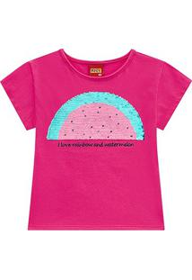 Blusa Infantil Kyly Melância Lantejoulas Reversíveis Feminina - Feminino-Pink