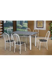 Conjunto De Mesa Sara Com 6 Cadeiras Branca Preto Flor